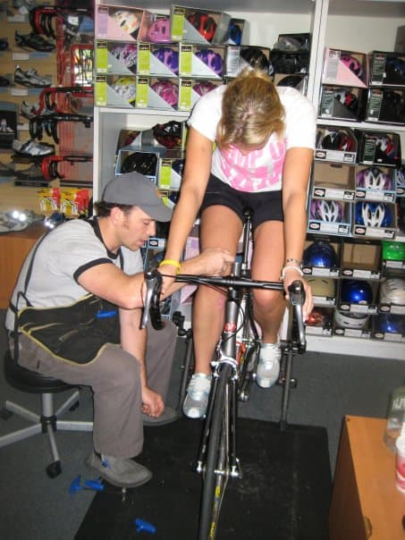 Jason Working with Mia.  Mia Has legs a mile long and a very bad back.  J made Mia very happy with an hour on the trainer