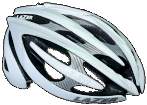 The Lazer Helium - a high end helmet. Very light, comfortable and adaptable retention system - around $200