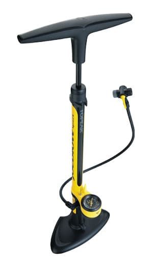 A Floor Pump - will have a chuck which fits Presta and Schrader valves and a pressure gauge