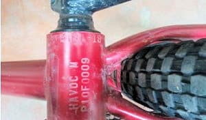 Model and frame number stamped onto bottom bracket