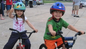 Children, of course, should always wear a helmet when riding a bicycle