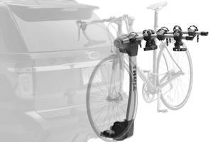 Hanging Hitch-Mounted Bike Rack - bikes hang from the top-tube