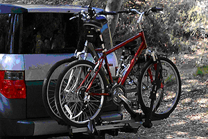 Platform hitch rack - requires the minimum of lifting and contact between bike and rack