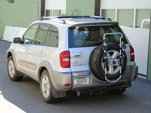A spare wheel mounted bike rack