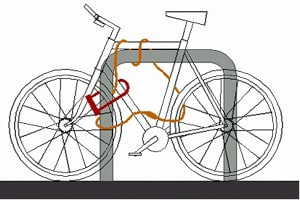 Make sure bike is secured to an immovable object and the lock threaded through frame and wheels