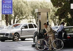 Avoid pumping bicycle tires at a gas station - these pumps are designed to supply large volumes of air and may just blow out your tire