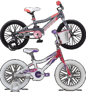 "16"" children's bikes with training wheels and coaster brakes."