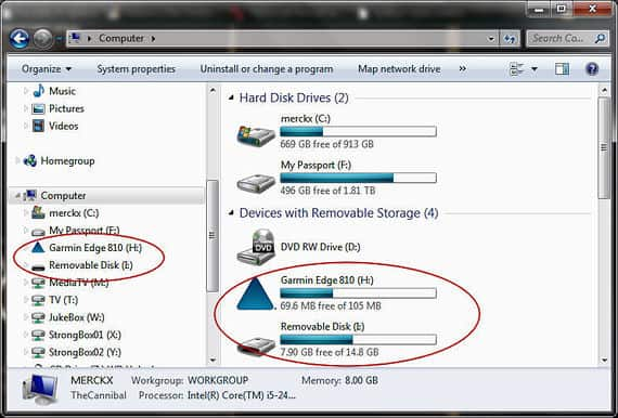 Your file explorer should show the Garmin and MicroSD card as additional drives